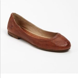 FRYE-CARSON-Brown Leather Ballet Flats-7.5